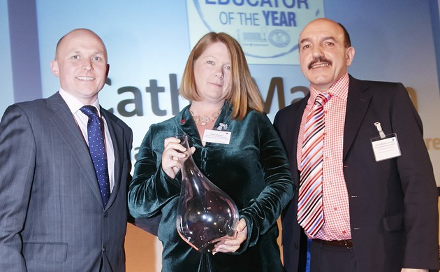 : International Educator of the Year, Cathy Marston AIWS, with Matt Knight of Riedel UK and WSET Honorary President Gerard Basset OBE MS MW