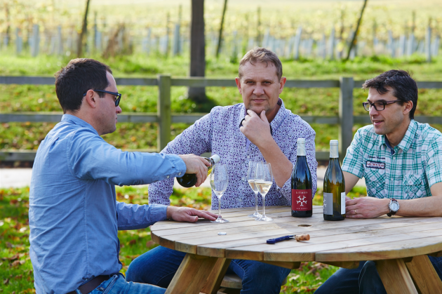 John Worontschak, Mike Florence and Matthieu Elzinga, co-owners of Litmus Wines